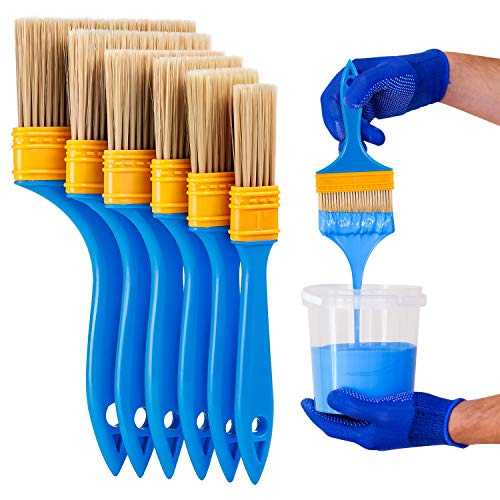 6PCS Chalk & Wax Paint Brush, Wax Brushes for Painting and Refinishing Furniture, Fences and Wall