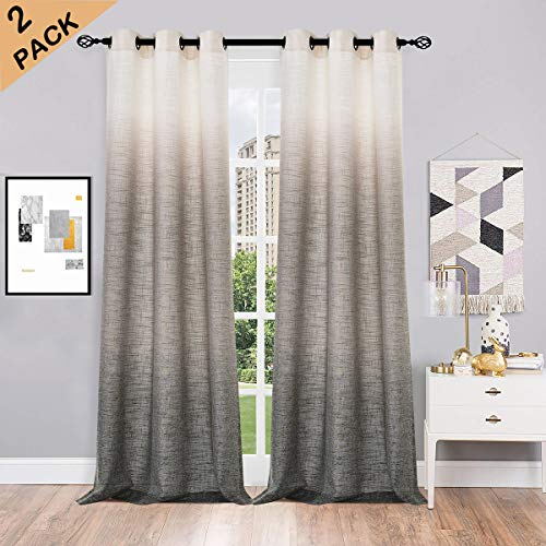 RYB HOME Semi Sheer Curtains for Living Room Dove Grey Light Reduce Window Curtains for Bedroom Rod Pocket /& Back Loops Top with Linen Texture Pattern Voile 2 Pcs Wide 52 x Long 84 inch