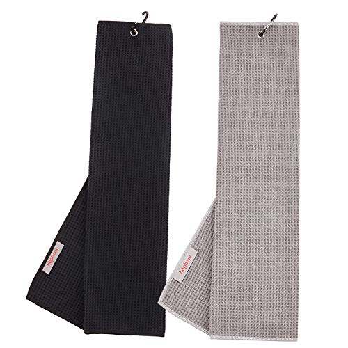 "haphealgolf Golf Towel (2 Pack) 16"" x 21"" Tri-fold Microfiber Waffle with Carabiner Clip (Black+Gray)"