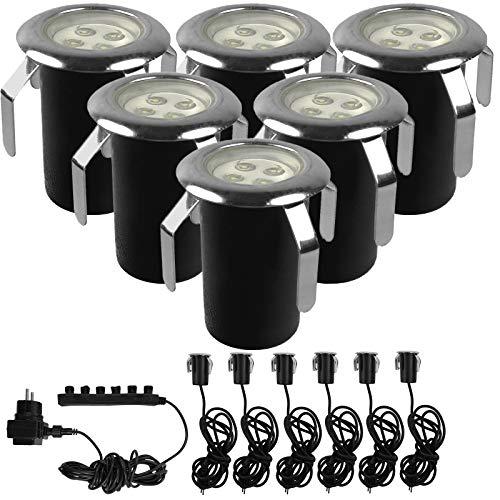 Bodeneinbaustrahler 4 LEDs pro Strahler (6-teiliges Set) Edelstahl rund Bodenleuchte IP44 - für den Aussen geeigent - Wegbeleuchtung Garten Terrasse Treppen - Kaltweiß - Wasserdicht