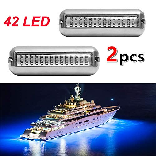 VOFONO 2X Blue Upgrade 27LED to 42 LED 12V 304 Stainless Steel Underwater Transom Pontoon Drain Fish Boat Navigation Light and Stern IP68 Waterproof