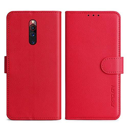 FMPCUON Handyhülle Kompatibel mit ZTE Nubia Red Magic 5G Hülle Leder PU Leder Tasche,Flip Hülle Lederhülle Handyhülle Etui Handytasche Schutzhülle für ZTE Nubia Red Magic 5G,Rot