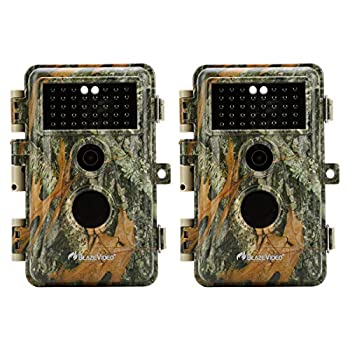 2-Pack Outdoor Camo No Glow Game & Deer Trail Cameras Night Vision 24MP 1296P MP4 Video for Hunting Wildlife & Home Surveillance Motion Activated Waterproof Field & Backyard Camera Photo & Video Model
