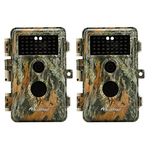 "[Upgraded] BlazeVideo 2-Pack Game Trail Deer Cameras 16MP 1920x1080P Video with 65ft Night Vision PIR Motion Activated Waterproof IP66 No Glow Infrared Camo Wildlife Hunting Cam 0.6S Trigger 2.4"" LCD"