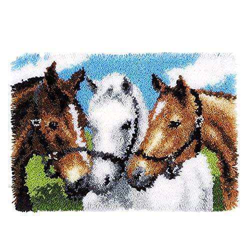 (50cm x 36cm , horse) - MLADEN Latch Hook Rug Kits DIY Crochet Yarn Rugs Hooking Craft Kit with Colour Preprinted Pattern Design for Adults Kids 50cm X 36cm (Horse, 50cm x 36cm )
