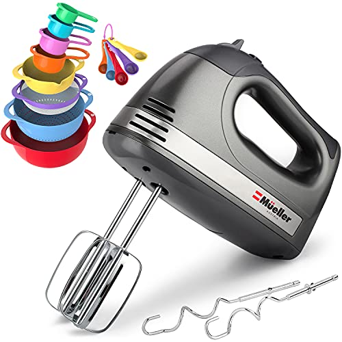 Mueller Austria Electric Hand Mixer and 13 Piece Mixing Bowl Set — 5 Speed 250W Turbo Mixer with Nesting Bowls Colander Mesh Strainer with Handles Measuring Cups and Spoons