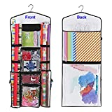 "ProPik Hanging Double Sided Wrapping Paper Storage Organizer with Multiple Front and Back Pockets Organize Your Gift Wrap & Gift Bags Bows Ribbons 40""X17 Fits 40 Inch Rolls (Black)"