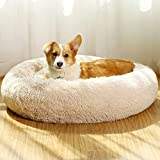JEMA Dog Beds for Large Dogs X-Large 36 inches Donut Calming Dog Bed Washable, Comfortable Round Cute Durable Pet Beds with Removable Pillow