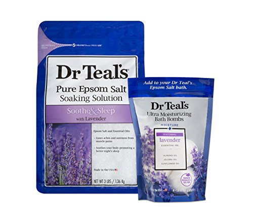 Dr Teal's Epsom Salt Soaking Solution and Ultra Moisturizing Bath Bombs with Pure Epsom Salt, Lavender, 3lb Bags, and 4 Count Bag