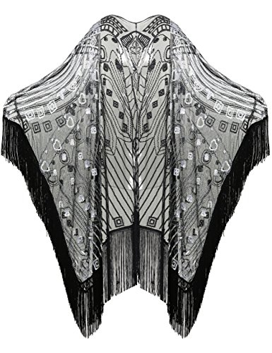 ArtiDeco 1920s Retro Schal Damen Umschlagtücher für Abendkleid Hochzeit Party Braut Schal Gatsby Kostüm Accessoires (Schwarz Stil 2)