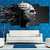 GJXYYD Leinwand Malerei Kunst Wanddekoration Wohnzimmer 5 Stücke Lange Haare Mann Poster Modulare Hd Drucken Gruseliges Bild 200X100CM, Leinwandbild - 5 Stück - Bilder Gemälde auf Leinwand Wandkunst