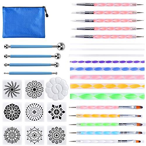 Wuudi 32 Stück Mandala Rock Punktierung Werkzeuge Dotting Tool Dot Painting für DIY Rock Malerei Polymer Clay Keramik Nail Art Handwerk Zeichnung Drafting