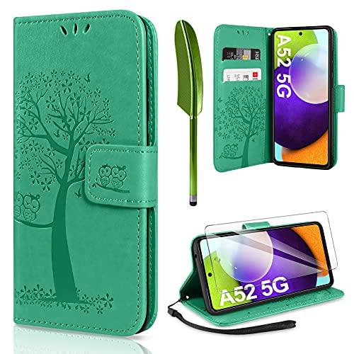 AROYI Kompatibel mit Samsung Galaxy A52 4G/5G A52s Hülle mit Schutzfolie, PU Leder Flip Wallet Schutzhülle für Samsung Galaxy A52 5G / 4G Tasche, Grün
