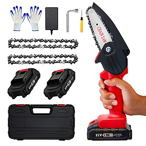 Mini Chainsaw - 4 Inch Electric Chainsaw with 2 Battery, Cordless Chainsaw with Safety Lock, Handheld Mini Chainsaw Cordless for Branch Wood Cutting Pruning Tree Trimming(2 Battery 2 Chain 1 Case)