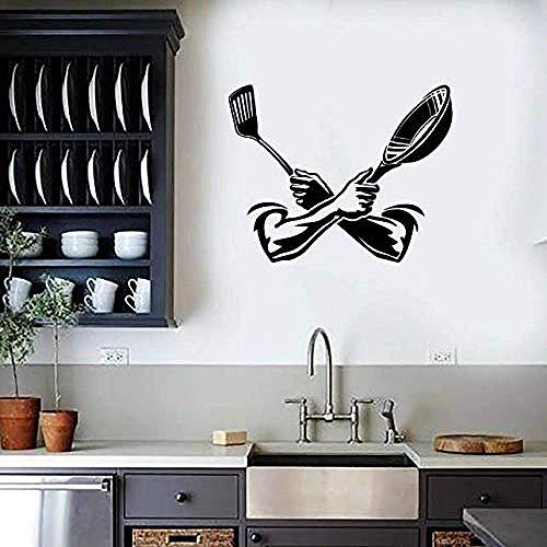 Kitchen Wall Sticker Spatula Spatula Window Door Vinyl Sticker Kitchen Restaurant Dining Room Interior Decoration Wallpaper 71 * 57C