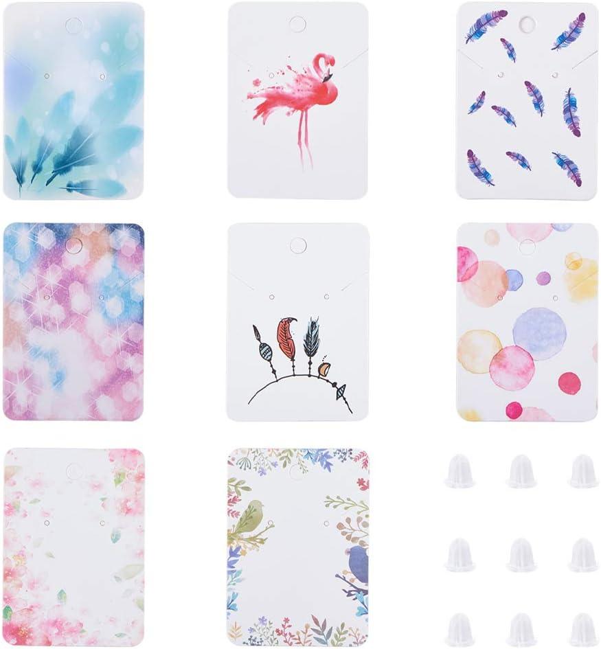 72 x 51 x 0,5 mm. PandaHall 160 tarjetas de exhibici/ón de 8 colores para collares y pendientes tarjetas rectangulares con plumas y 200 tuercas de pl/ástico