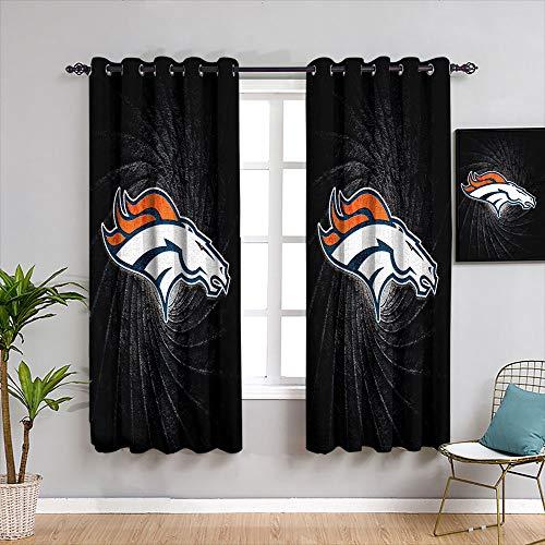 Cortinas térmicas con aislamiento térmico American Tootball Team Denv-er Bron-cos Ojal Cortinas opacas diseño personalizado habitación oscurecimiento ancho cortinas ancho 42 x L54