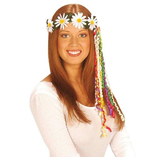 Hippie Haarkranz Margeriten Blumen Haarband Gänseblümchen Blumenhaarkranz Blütenkranz Fasching Flower Power Haarschmuck Damen Kopfschmuck Blumenschmuck 70er Jahre Mottoparty Accessoire Karneval Kostüm Zubehör