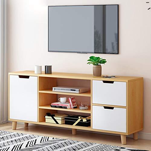 TV Unit Black Oak Stand Cabinet Wooden TV Bench,Modern Storage Cabinet With 1 Doors 3 Shelves 2drawer,for Living Room,Bedroom,120cm Light yellow
