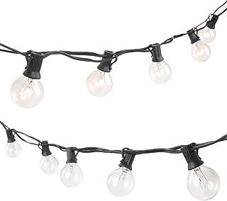 25FT G40 Bombillas de Globo al aire libre String Lights luz de la tira de la secuencia con el zócalo para la fiesta del jardín (3 bulbos de repuesto)