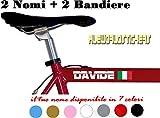AWS 2 Due Adesivi Nome H 2 cm + 2 Bandiere Tuning Stickers Vinile Bicicletta Moto Bici Casco Custom Name