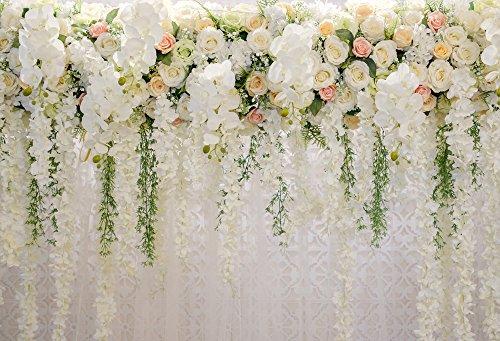 Rideau de fond de mariage Fleurs de Navarre Décorations Photo Fond Baby Shower Dessert Table Blush Fond 220x150cm Xt-6749