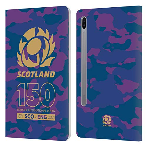 Official Scotland Rugby Camouflage 150th Anniversary Leather Book Wallet Case Cover Compatible For Samsung Galaxy Tab S6 (2019)