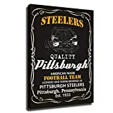 Pittsburgh Steelers American Football Poster Home Decor Retro Canvas Wall Art Print Posters Paintings Pictures for Bedroom Living Room (12x16inch,Wooden Framed)