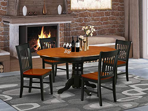 5Pc Oval 42/60 Inch Dining Table With 18 In Self Storing Butterfly Leaf And Four Wood Seat Chairs