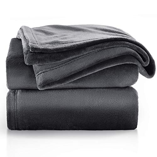 BEDSURE Fleece Blanket Sofa Throw - Versatile Blanket Fluffy Soft Throw for Bed and Couch Travel / Single, Dark Grey, 130x150cm