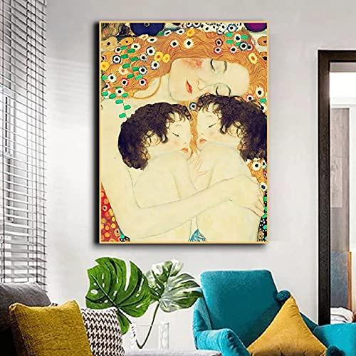 N/A Cuadro sobre Lienzo,Madre dormida con Gemelos,sin Marco Cartel HD Impresión de Imagen Sala de Estar Dormitorio Arte de la Pared Decoración