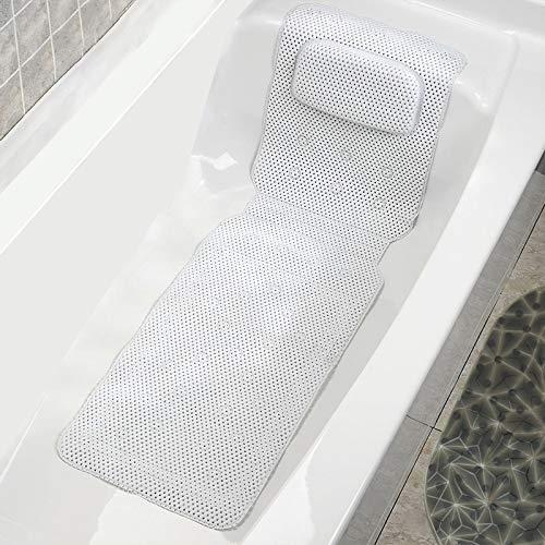 COCOCITY Badewannenmatten mit Kissen Badematte 36X125 cm Rutschfeste Weißer Schwamm Wannenmatte Extralange Badewanneneinlage mit 30 Saugnäpfen für Eltern, Kinder