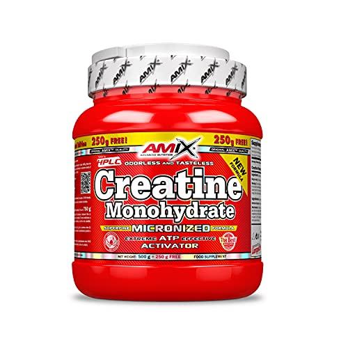 AMIX - Creatina Monohidratada, 500g + 250g Gratis, Complemento Alimenticio, Mejora el Rendimiento Físico, Adecuado para Deportistas, 100% Micronizada, Proteína Masa Muscular