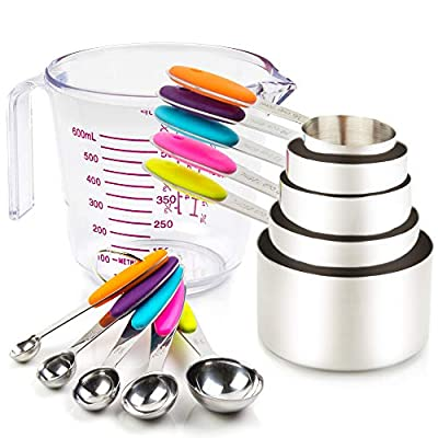 Measuring Cups and Spoons Set. Includes 10 Colorful Stainless Steel Measuring Cups and Measuring Spoons Set and 1 Plastic Measure Cup. Liquid Measuring Cup or Dry Measuring Cup Set. Dishwasher-Safe