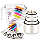 Measuring Cups and Spoons Set. Includes 10 Colorful Stainless Steel Metal Measuring Cups Measuring Spoons and 1 Plastic Measure Cup. Liquid Measuring Cups and Dry Measuring Cup Set. Dishwasher-Safe
