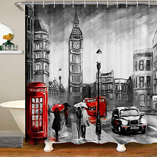 Cortina de ducha de tela para cabina de teléfono, diseño de Big Ben, para niños, niñas, paisaje urbano de Londres, impermeable, con ganchos, 180 x 210 cm