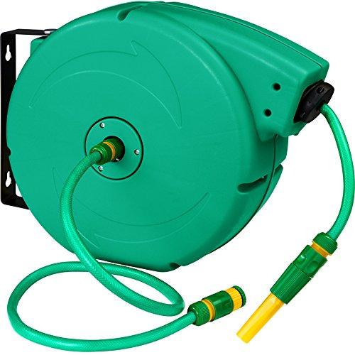 TecTake Schlauchtrommel Gartenschlauch Wasserschlauch | Einzugsautomatik | Wandhalterung | Inkl. Wasserspritze - Verschiedene Modelle (Typ 2 | No. 402762)