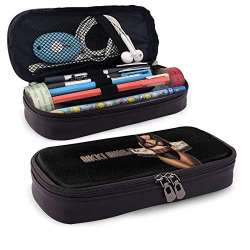 XCNGG Nicki Minaj Estuche para bolígrafos con cremallera Estuche para lápices de cuero a la moda Estuche para lápices de gran capacidad para estudiantes Estuche para lápices para bolígrafos, lápices,
