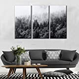 TUMOVO Canvas Wall Art -Misty Forest in Black and White Wall Art for Living Room- Cloud clinging to The Tops of The Trees Home Decor Gallery Wrap Modern Home Decor | Ready to Hang(28''x42'')