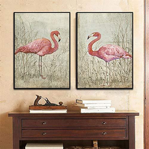 ganlanshu Pink Bird Animal Village Paisaje Lienzo Pintura Sala de Estar decoración del hogar en la Selva,Pintura sin Marco,30X45cmx2
