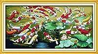 クロスステッチ刺繍キット、魚魚家の装飾ギフト用のDIY子供用初心者アート印刷パターン刺繍キット(11CT 40X50cm)