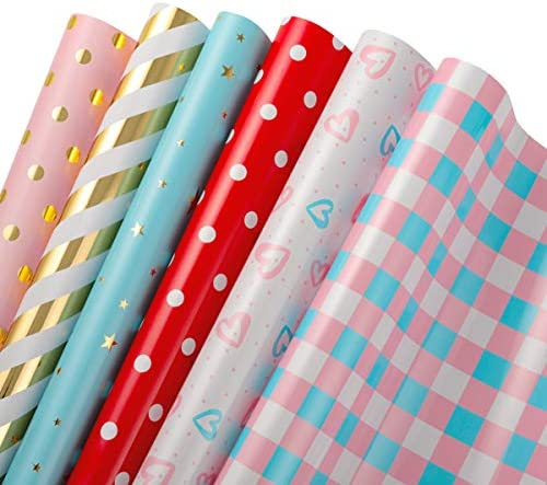 STOBOK Wrapping Paper Roll 6 Sheets Different Designs Recyclable Gold Print All Occasion Gift product image