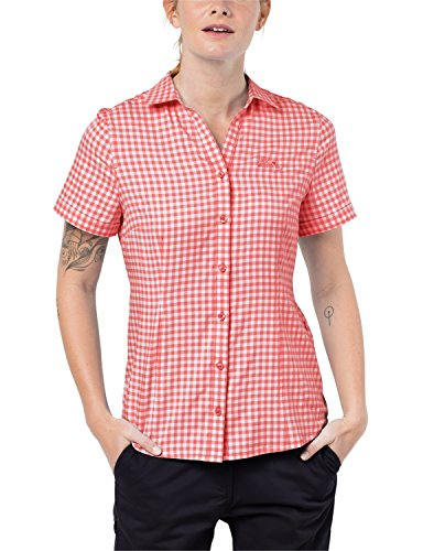 Jack Wolfskin Damen Bluse Kepler Shirt Women Schnelltrocknend Leicht Alltag Reise Bluse, hot Coral Checks, XS, 1401723-7971001