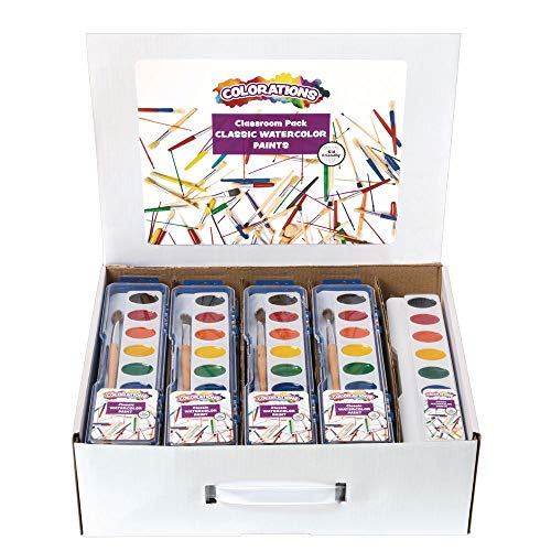 Colorations WCPAK Complete Classroom Watercolor Paint Set for Creative Expression - 28 Palettes and Brushes in Hinged Cases Plus 13 Palette Refills