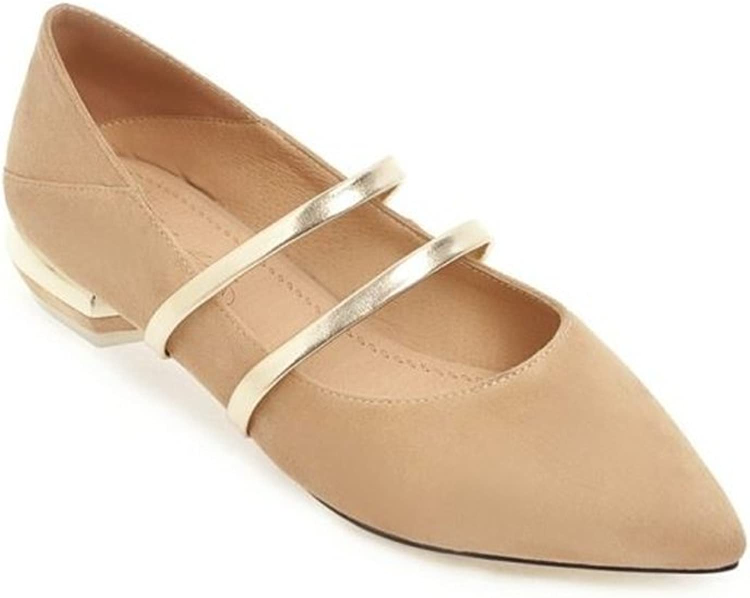 Fancyww Women's Classic Pointy Toe Ballet Flat Suede Comfort Flats shoes