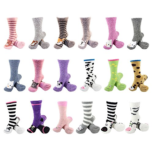 Super Soft Warm Cute Animal Non-Slip Fuzzy Cozy Crew Winter Home Socks, Surprise Package - 3 Pairs - Value Pack