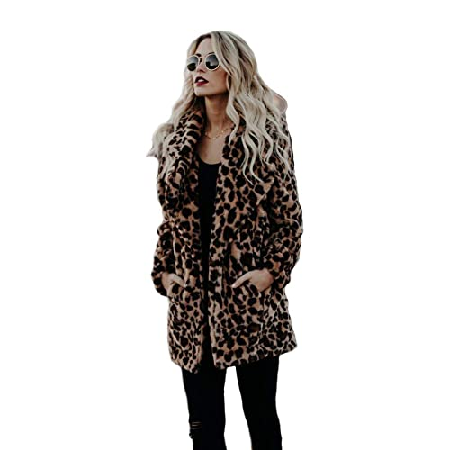 220fb01524c8 XIANIWTA Women's Winter Long Sleeve Coat Faux Fur Overcoat Plus Size Fluffy  Top Jacket Leopard