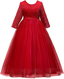 Girls 3/4 Sleeve Flower Tulle Lace Wedding Party Dress Floor Length Princess Long Prom Formal Pageant Evening Maxi Gown