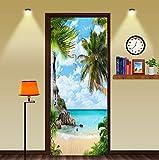 FLFK 3D Palmera PVC Adhesivo Fotográfico Vinilos Puerta Pegatina Pared Murales para Cocina Sala de Baño Decorativos 77X200cm