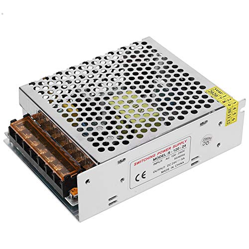 gostcai Adaptador de Controlador de Fuente de alimentación de Interruptor de 24 V DC para Tira luz cámara CCTV, aleación de Aluminio Fuente de alimentación de Interruptor (5A / 120W)